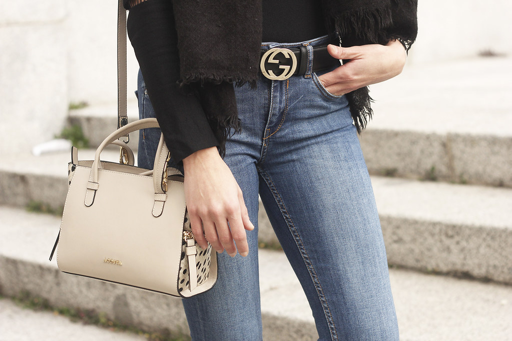 178996331 ... black sweater jeans gucci belt outfit style fashion scarf acosta bag04  | by BeSugarandSpice