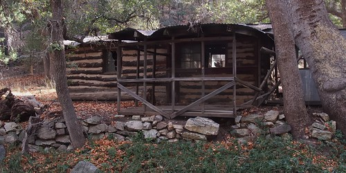 olympuspenliteepl5 edk7 2013 usa arizona hereford thenatureconservancy ramseycanyonpreserve uppersanpedroriverbasin apachehighlandsecoregion logcabin landscape architecture building oldstructure park woods forest rock weatheredwood warpedcorrugatedsteelroof warpedcorrugatedtinroof tree leaf