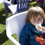 Enjoying an ice-cream | Getting stuck into an ice-cream during the sunshine in Charlotte Square Gardens © Helen Jones