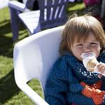 Enjoying an ice-cream | Getting stuck into an ice-cream during the sunshine in Charlotte Square Gardens © Helen Jones