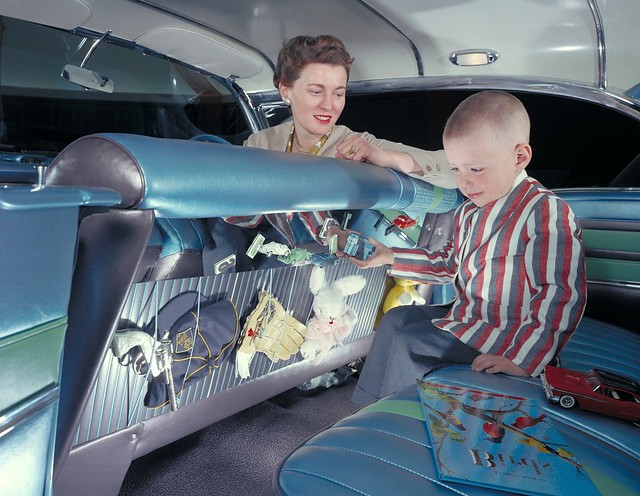 1958 Oldsmobile Carousel Damsel of Design Peggy Sauer and nephew with her 1958 Oldsmobile Carousel which was designed with children in mind