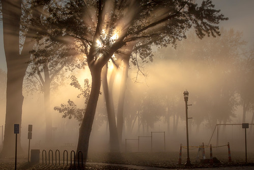 park street morning autumn sun tree english lamp bike fog set sunrise dawn bars swing mo landing sidewalk missouri rack cottonwood rays parkville crepuscular