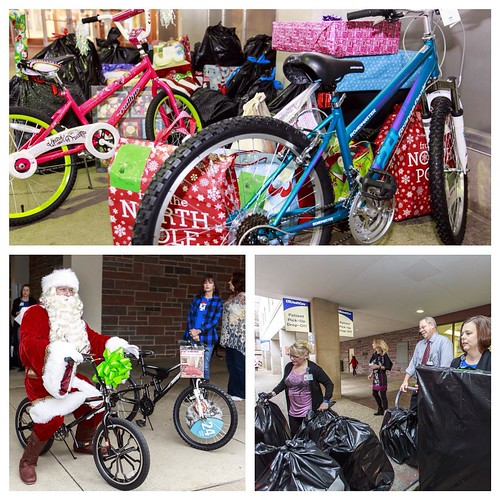 . @ukhealthcare employees served as Santa's elves last weekend helping him bring cheer to around 800 kids in the Bluegrass through their donations to Circle of Love. Santa also found time to make another stop on campus at Singletary to pick up even more g