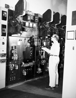 Worker at North Sub Rectifier Station, 1954
