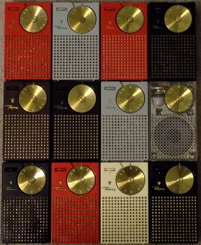 A Grouping Of 12 Regency TR-1 Transistor Radios From My Collection, AM Band, Made In USA