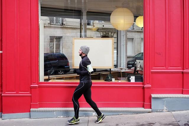 An empty board in a window  7-2017 ( serie walkers )