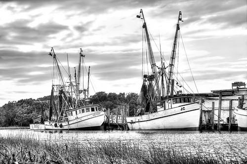 shrimpboat shrimpboats shrimping coastal dock boats river clouds monochrome blackwhite landscape nets bay creek docks explored