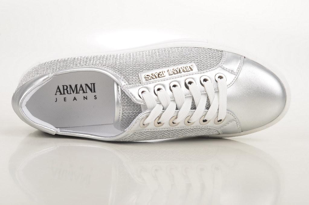 69b9f7ce387c6f armani jeans armanina sneaker lederoptik silber silver by spera with  lederoptik
