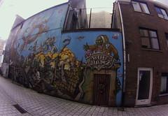 Bue Jamz mural in Gent (fisheye)