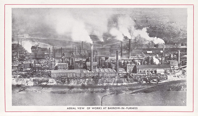 Aerial view of the works of the Barrow Haematite Steel & Iron Works, Barrow-in-Furness, Lancashire c1925