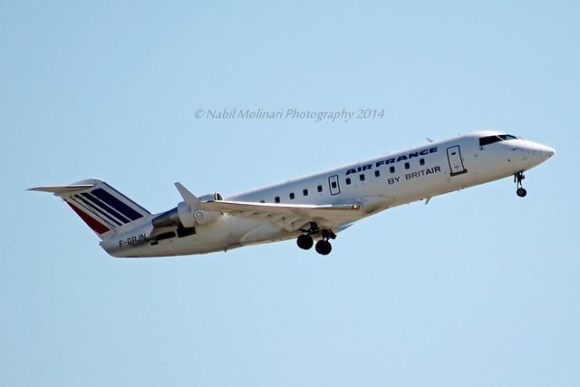 Hop! F-GRJN Bombardier CRJ-100ER (CL-600-2B19) cn/7262 wfu and std at MXN 28 Mar 2014 Broken up 2017 at MXN @ Nice Cote d'Azur Airport LFMN / NCE 22-02-2014