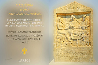 Greece, Macedonia, Aegean sea,  Thasos island, funerary stele with greek inscription