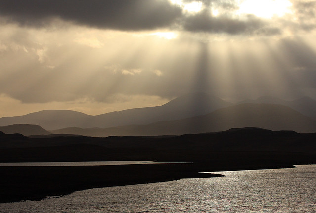 Looking south over Loch Trealaval from Achmore, Isle of Lewis, Scotland