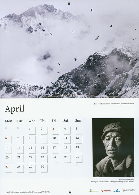My photos in the New Zealand Alpine Club calender