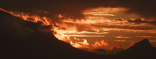africa sunset orange sun mountain table fire town south cape fiery