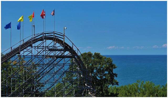 Blue Skys Above Waldameer Park's Ravine Flyer II Roller Coaster @ Erie, PA
