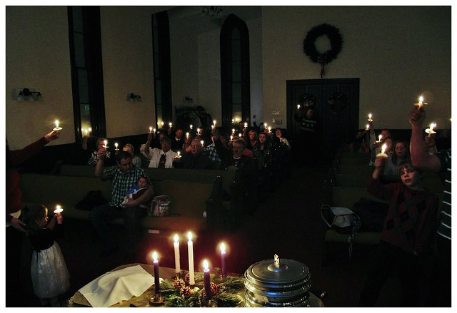 Candle light service, by singing