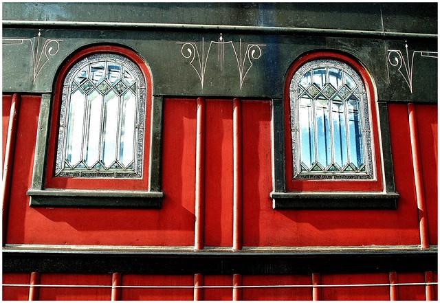 Stain / beveled glass windows on Strasburg Railroad passenger car @ Strasburg PA (HWW)