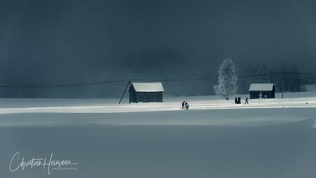 Islet of sunshine in fog, Altmatt, Switzerland