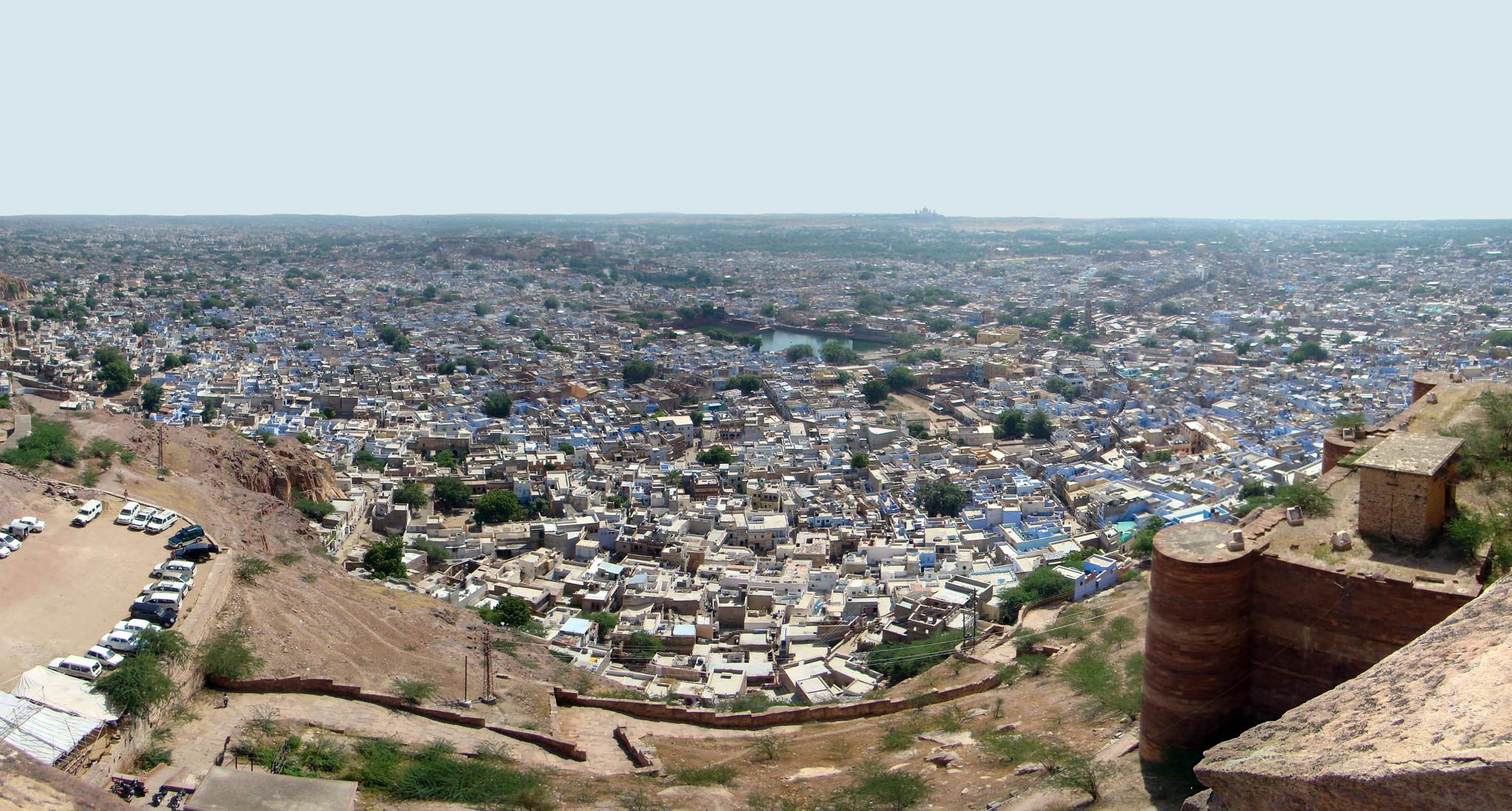 vista de Jodhpur la ciudad azul del Rajasthan desde Fuerte Mehrangarh India