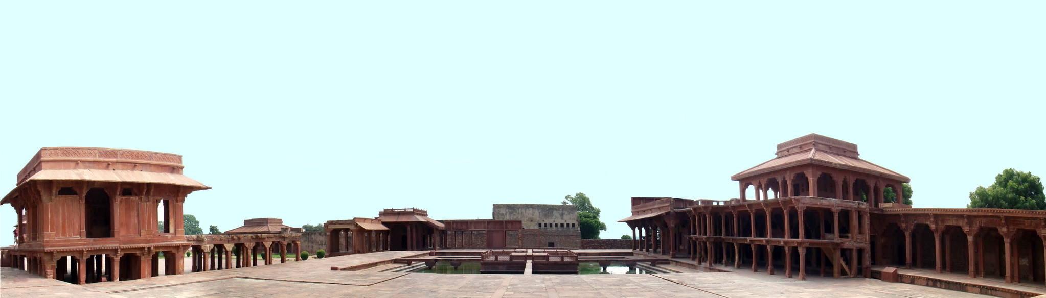 estanque Anup Talao, y Pabellón del emperador Akbar, Khwagah ciudad Fatehpur Sikri India