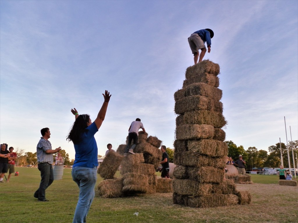 Winning the Hay-stacking Challenge, Kununurra Agricultural Show, Western Australia