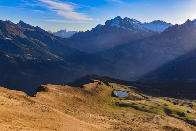 Light is rising over Grindelwald. Taken from Männlichen , Canton of Bern , Switzerland. No. 595.