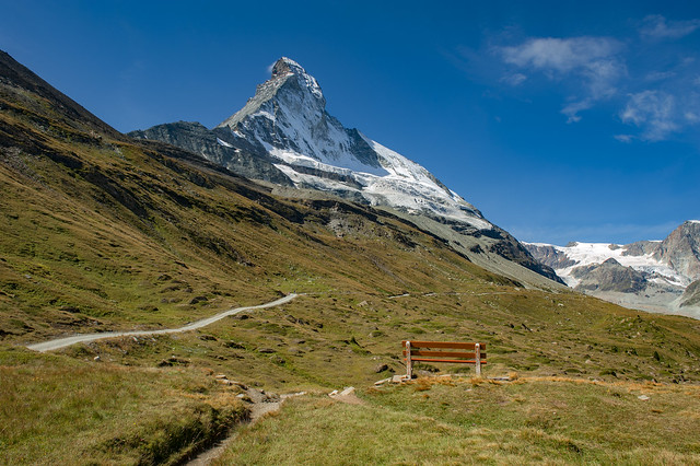 The empty bench in front of the Matterhorn. Canton  Valais , Switzerland. No. 9506.