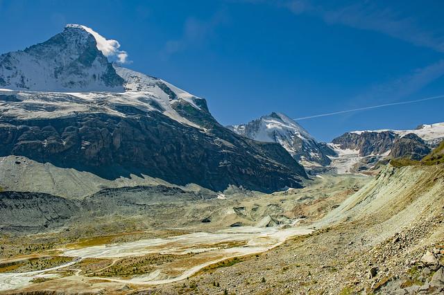 The Glacier of Z'mutt  the Matterhorn mountain and  Dent d'Hérens (4,174 m) . Zermatt. Switzerland. No. 9541.