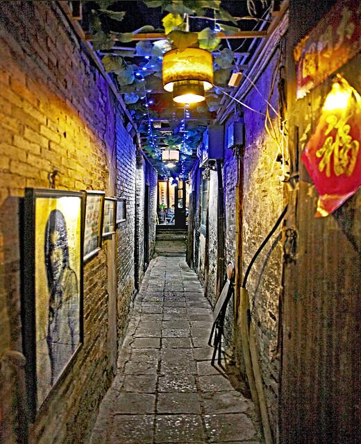China 2012. Xi'tang  (Zhejiang). Alley at night.