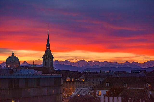 Sunrise on Bern ,   November 1, 2020, Switzerland. No. 56.