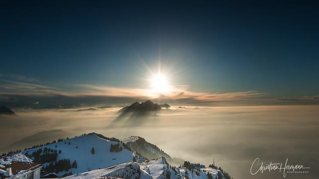 Sunset behind Pilatus, Switzerland