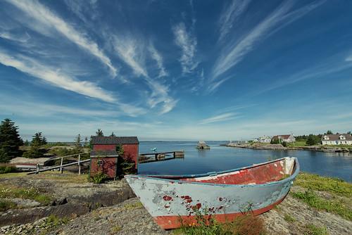 cloud water marina landscape boat novascotia bluerocks sky outdoor canada travel shawnharquail shawnharquailcom clouds