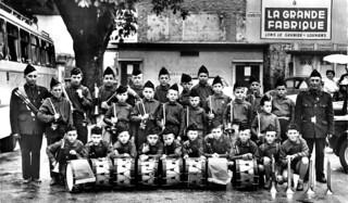 La clique des sapeurs Pompiers d'Orgelet (Jura) à la fin des années 1950