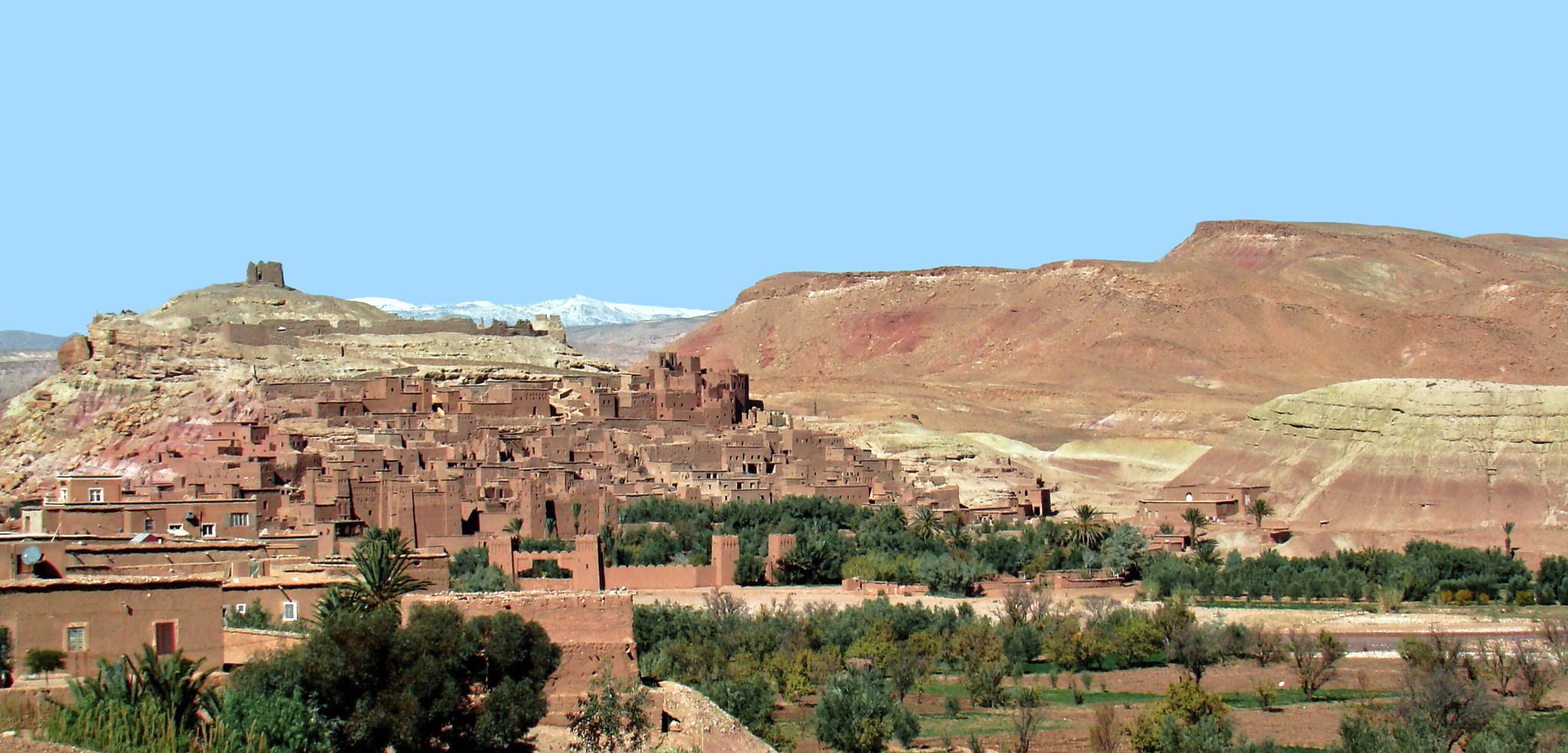 vista de ciudad fortificada Kasbah Ait Ben Haddou Ouarzazate Marruecos