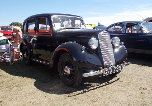 BLACK BRITISH  HILLMAN MINX BRITISH MADE MOTOR CAR OR AUTOMOBILE ABOUT 1930'S ON SHOW AT DAMYNS HALL AERODROME CAR AND MILITARY SHOW IN AN EAST LONDON BOROUGH SUBURB STREET VENUE ENGLAND 9-8-2015 DSCN0266 Additional information by Peter Cartwright  First