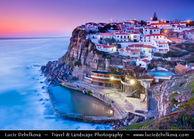 Portugal - Azenhas do Mar - Belvedere built on cliffs at Dusk