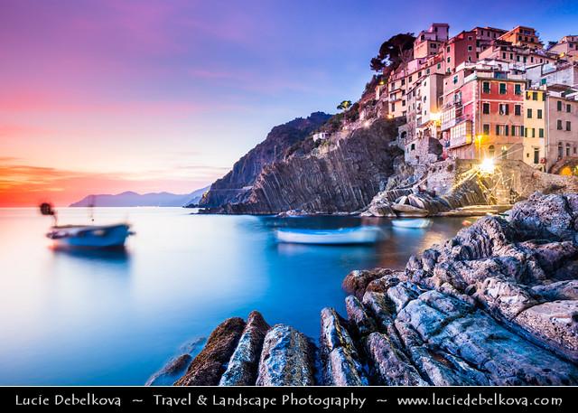 Italy - Liguria Coast - Riviera Ligure - Cinque Terre - Riomaggiore at Dusk - Twilight - Blue Hour - Night