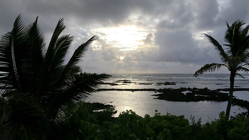 bigisland cloud coast hawaii kapohotidepools pahoa plant sea sky sunrise tree unitedstates usa vacation waiopae water seascape