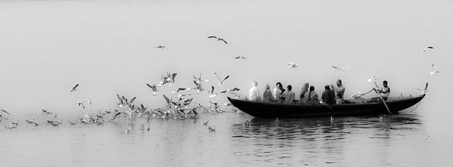 Birds & devotees in a boat - Varanasi-03633-20151205-_35A2105-Edit-2