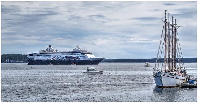 Tallship Margaret Todd & Veendam Cruise Ship @ Bar Harbor