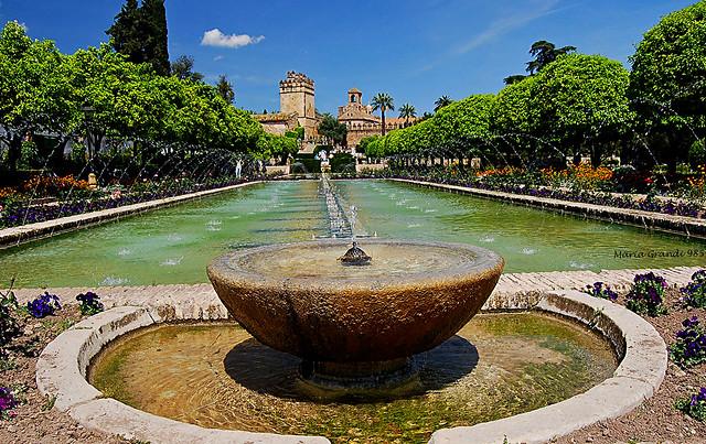 A Fountain in the Alcazar of Cordoba - Spain