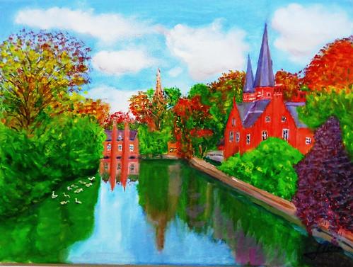 Canal en Otoño ,,,Brujas ,Belgica,PARQUE DE LOS ENAMORADOS (óleo sobre lienzo 30x40)