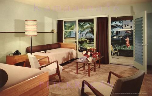 hawaii hotel interior postcard 1950s bigisland hilo naniloa