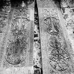 Stone carved Armenian khachkars at Dadivank Monastery. Nagorno-Karabakh, Armenia / Artsakh / Azerbaijan