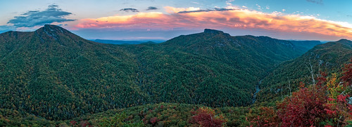wisemansview linvillegorge linvilleriver wilderness blueridgeparkway hawksbillmountain tablerock blueridge blueridgemountains northcarolina panorama sunset