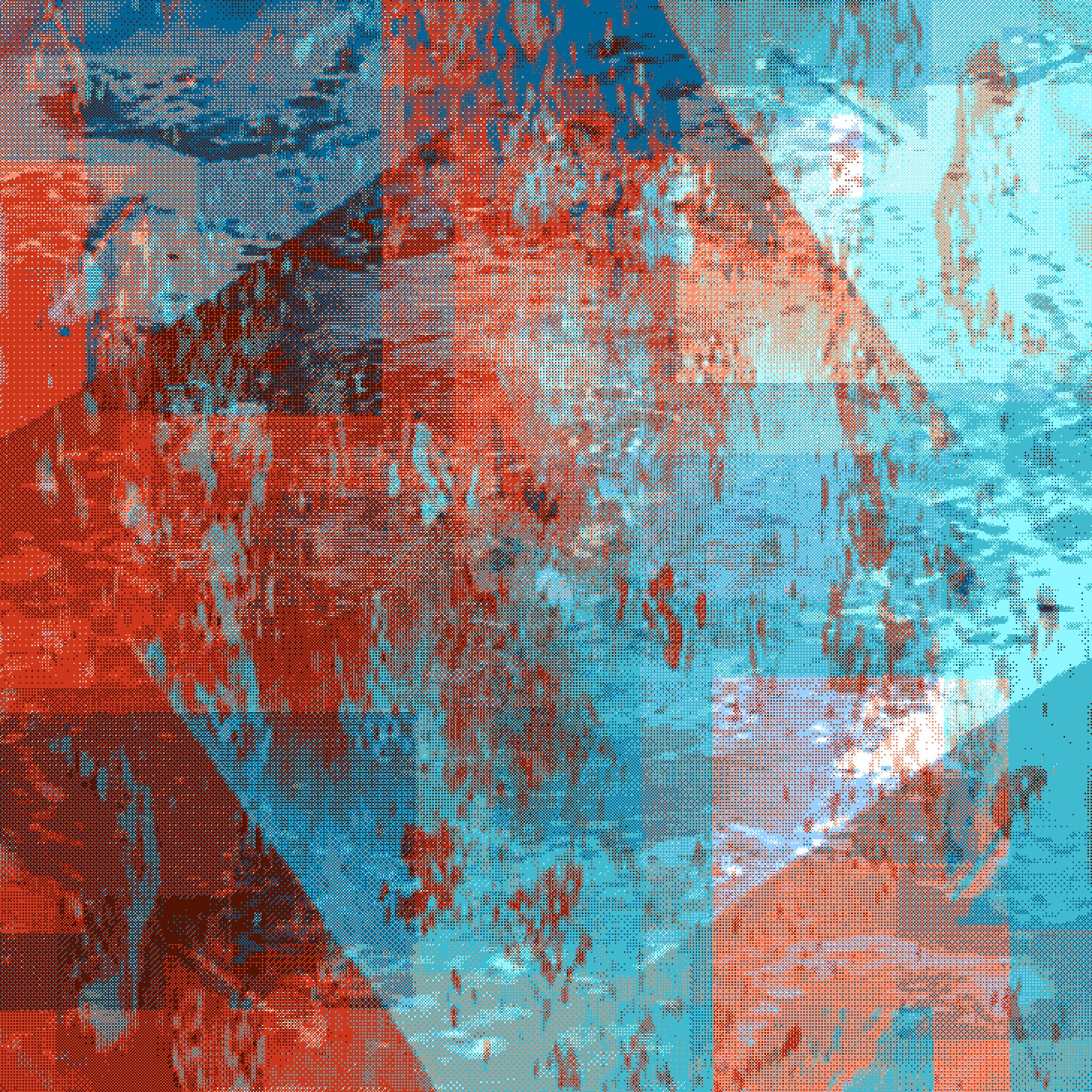 Dot Rocks 4: grainy squares and diamonds in cyan and red