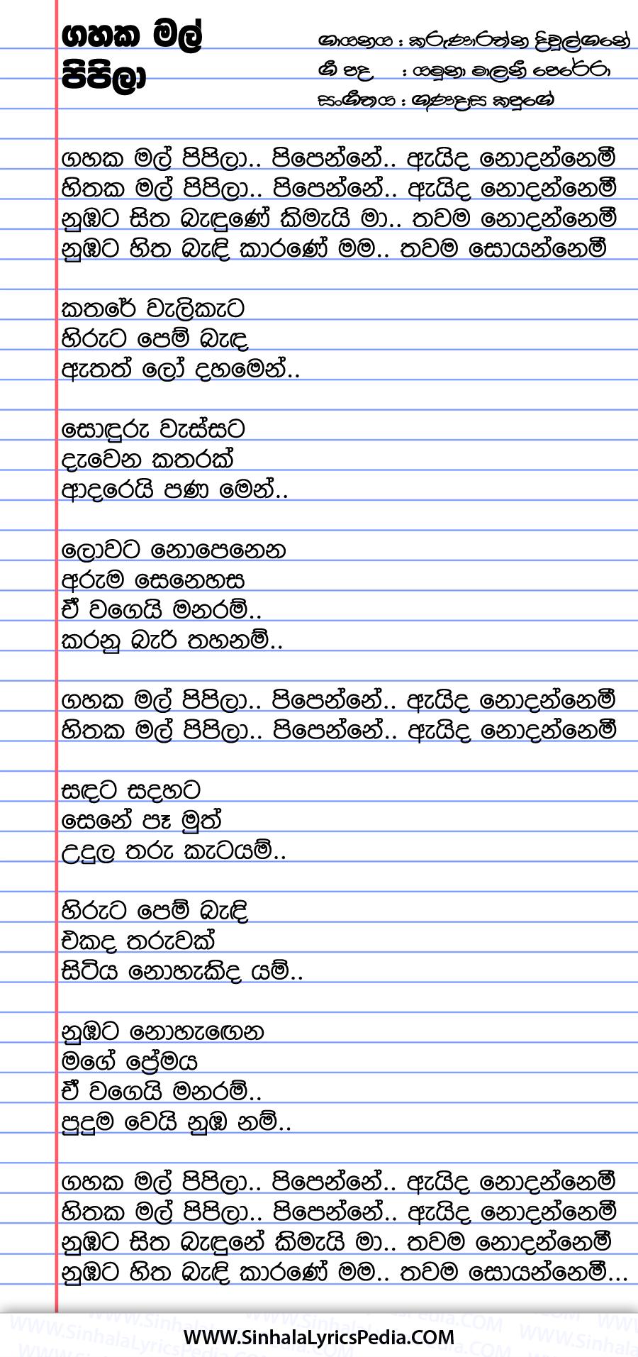 Gahaka Mal Pipila Pipenne Aida Nodannemi Song Lyrics