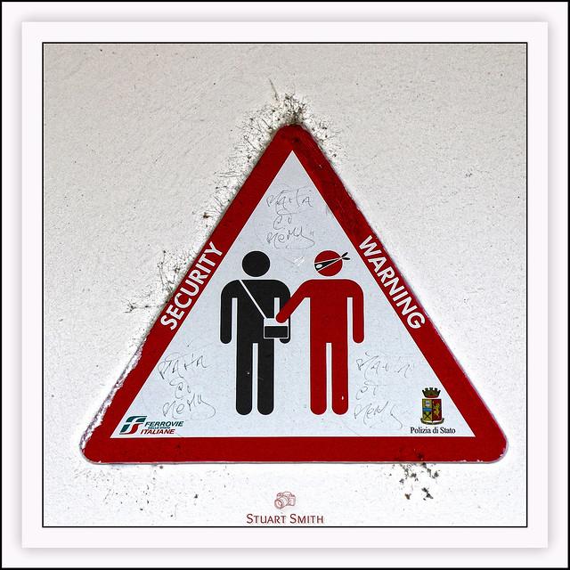 Warning Sign, Railway Station, Monterosso, Liguria, Italy