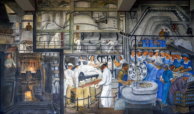 Coit Tower murals -Industries of California by Ralph Stackpole